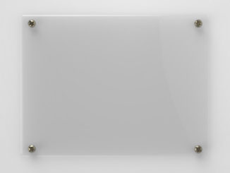 glass board on grey background